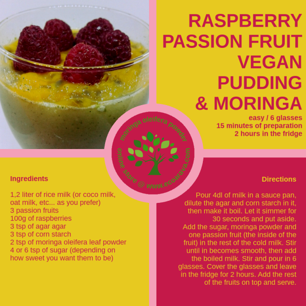 passion fruit vegan pudding & moringa